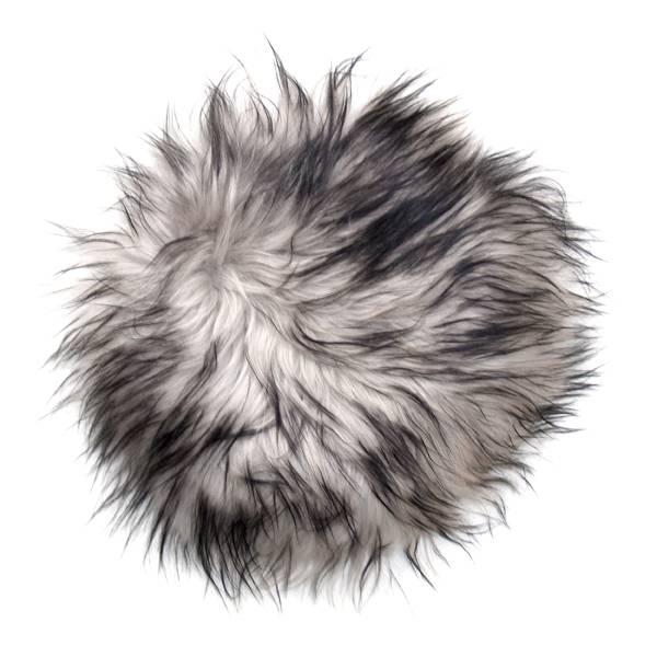 @BERG Stoelpad schapenvacht rond -grijs dark top-