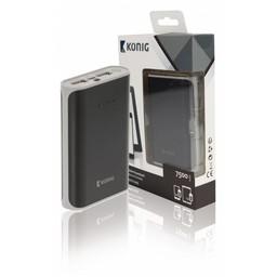 Nedis Powerbank | 7500 mAh | 2 USB-A uitgangen 3.1 A | micro-USB ingang | Zwart