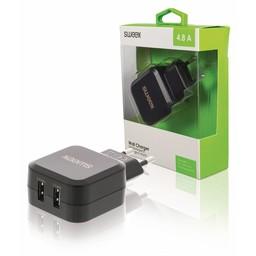Nedis Wandoplader | 4,8 A | 2 uitgangen | USB-A | Zwart
