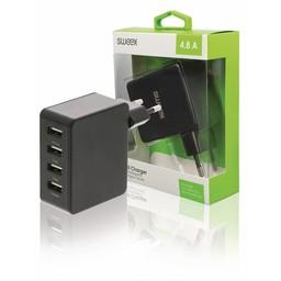 Nedis Wandoplader | 4,8 A | 4 uitgangen | USB-A | Zwart