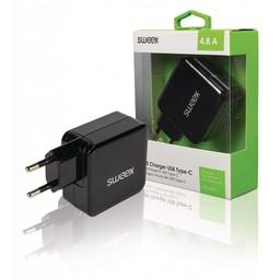 Nedis Wandoplader | 4,8 A | 2 uitgangen | USB-A en USB-C™ | Zwart