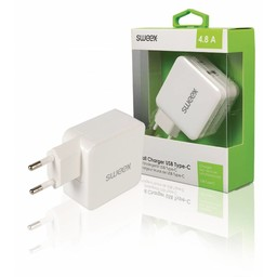 Nedis Wandoplader | 4,8 A | 2 uitgangen | USB-A en USB-C™ | Wit