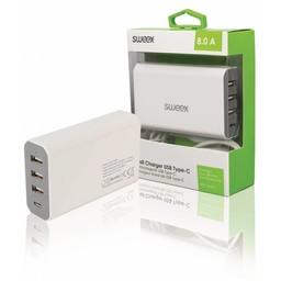Nedis Wandoplader | 8,0 A | 4 uitgangen | 3x USB-A & 1x USB-C™ | Wit