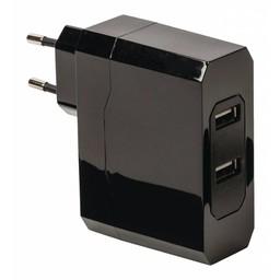 USB ADAPTER WALL 4,8A 2 PORT BLACK