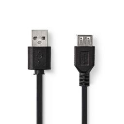 Nedis Kabel USB 2.0 | A male - USB A female | 1,0 m | Zwart