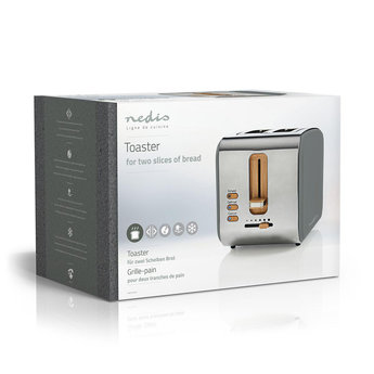 Nedis Broodrooster | 2 brede sleuven | Soft-touch | Grijs