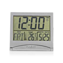 Nedis Digitale Reiswekker   Datum/temperatuur   Zilver