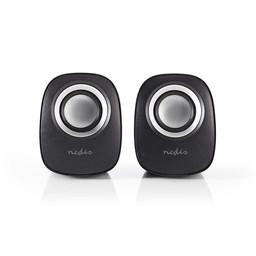 Nedis PC-Speaker | 2.0 | 12 W | 3,5 mm Jack | Zwart/Zilver