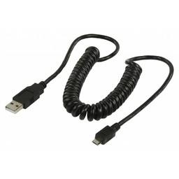 Nedis USB 2.0-Spiraalkabel | A Male - Micro-B Male | 2,0 m | Zwart