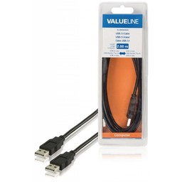 <br />  USB 2.0 kabel USB A mannelijk - USB A mannelijk 2,00 m zwart
