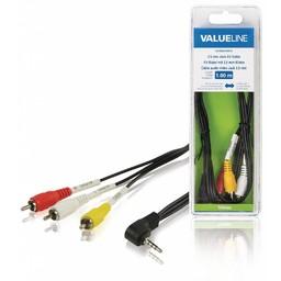 <br />  3,5 mm jack AV kabel mannelijk - 3x RCA mannelijk 1,00 m zwart