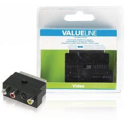 <br />  Schakelbare SCART AV adapter SCART mannelijk - 3x RCA vrouwelijk + S-Video vrouwelijk zwart