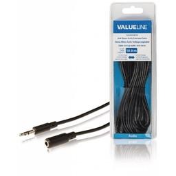<br />  Jack stereo audio verlengkabel 3,5 mm mannelijk - 3,5 mm vrouwelijk 10,0 m zwart