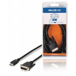 <br />  HDMI - DVI-D-kabel HDMI-connector - DVI-D 24 + 1-pins mannelijk 2,00 m zwart