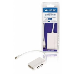 <br />  Mini DisplayPort-adapterkabel Mini-DisplayPort mannelijk - HDMI + DVI-I + DisplayPort vrouwelijk wit 0,20 m