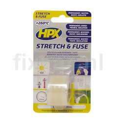 Hpx Stretch & Fuse zelfvulkaniserende tape - transparant 25mm x 1,80m