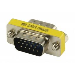 Valueline Metalen mini VGA adapter HD15p mannelijk - HD15p mannelijk