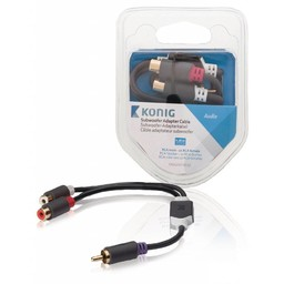 <br />  Subwoofer adapterkabel RCA male - 2x RCA female 0,20 m grijs