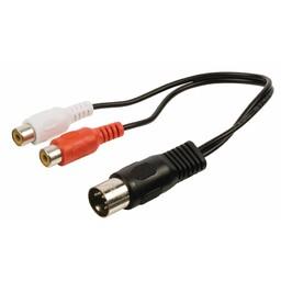 Valueline Stereo Audiokabel 5-Pins DIN Male - 2x RCA Female 0.20 m Zwart