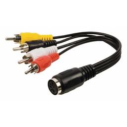 Valueline Stereo Audiokabel 5-Pins DIN Female - 4x RCA Male 0.20 m Zwart