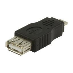 Valueline USB 2.0 Adapter Micro-A Male - A Female Zwart