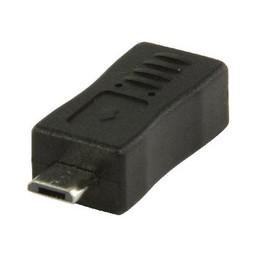 Valueline USB 2.0 Adapter Micro-B Male - Mini-B Female Zwart