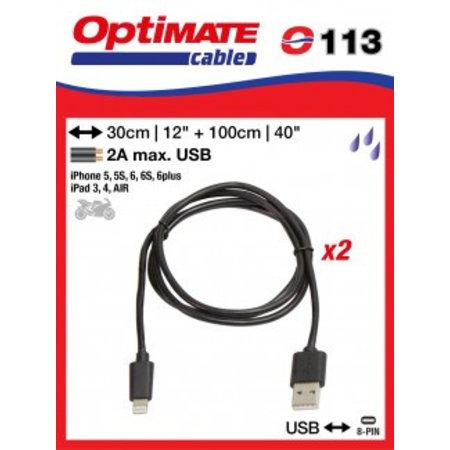 Tecmate I-8pin USB laadkabel voor Iphone 5 of 6 en Ipad 3,4 en AIR