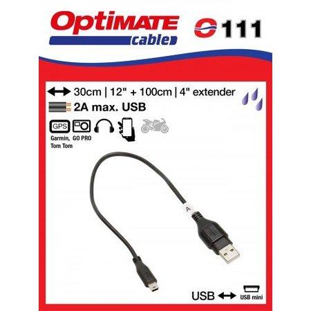 Tecmate Oplaadkabel O111 verloop USB naar USB Mini - inclusief verlengkabel