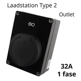 EO Laadstation type 2 Outlet 32A Zwart