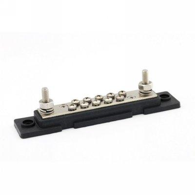 DC min (-) verdeelrail met kap 2xM6 + 10xM4 Zwart