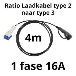 Ratio Laadkabel type 2 naar type 3 - 1 fase 16A - 4 meter