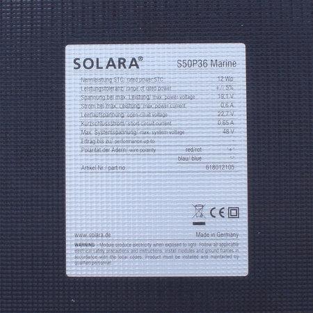 Solara Zonnepaneel Marine S50P36 12 Wp - 431x243x4mm