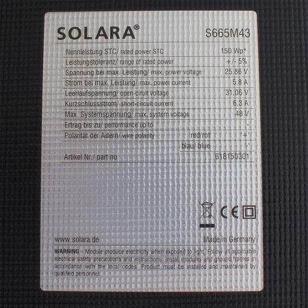 Solara Zonnepaneel S665M43 Marine 150 Wp - 1507x541x4mm