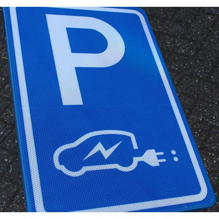 Verkeersbord/ Parkeerbord Elektrische Auto op Paal