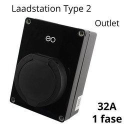 EO Mini Pro 2 Laadstation type 2 Outlet 32A Zwart