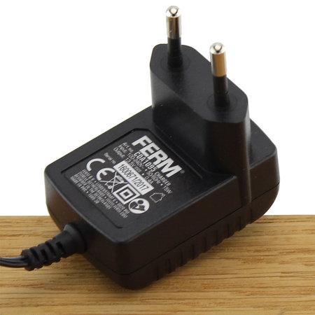 FERM CDA1095 Charger Adapter 12V 0.4A voor combitool CTM1016, decoupeerzaag JSM1026 en multitool OTM1006