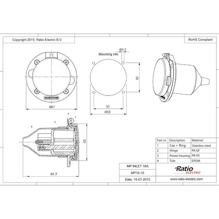 Ratio Walstroom invoer/inlet 16A RVS