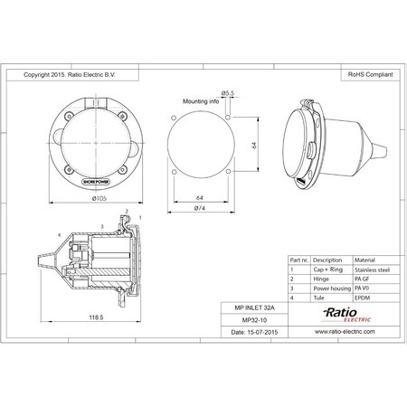 Ratio Walstroom invoer/inlet 32A RVS