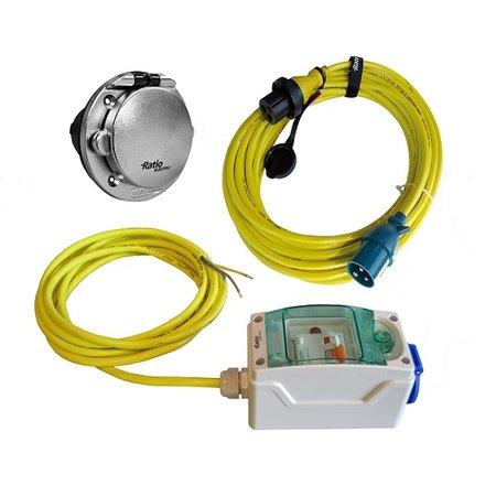 Ratio MP16-KX-Kit 10A voor AC16 walstroomsysteem | verchroomde inlet