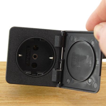 Ratio Wandcontactdoos Schuko outlet enkelvoudig zwart 16A