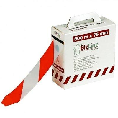 BizLine afbakeningslint rood/wit 75mm x 500M | 0,3mm