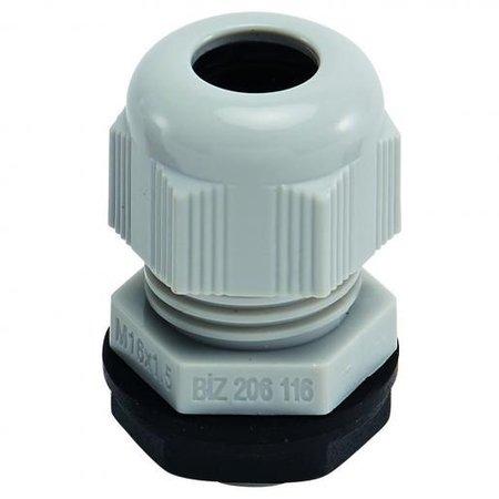 BizLine wartel M12 met moer | M/ISO kabelwartel 3/6,5mm kunststof lichtgrijs