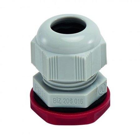 BizLine wartel PG21 met moer | kabelwartel 13/18mm kunststof lichtgrijs