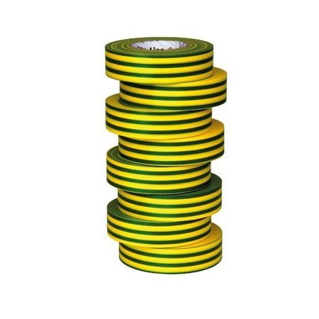 BizLine Hoogwaardige vinyltape 19mm x 20m geel/groen