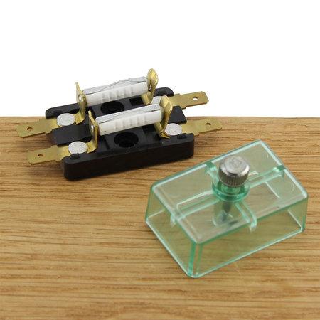 Zekeringhouder Merit 2-polig met transparante afdekkap -Faston