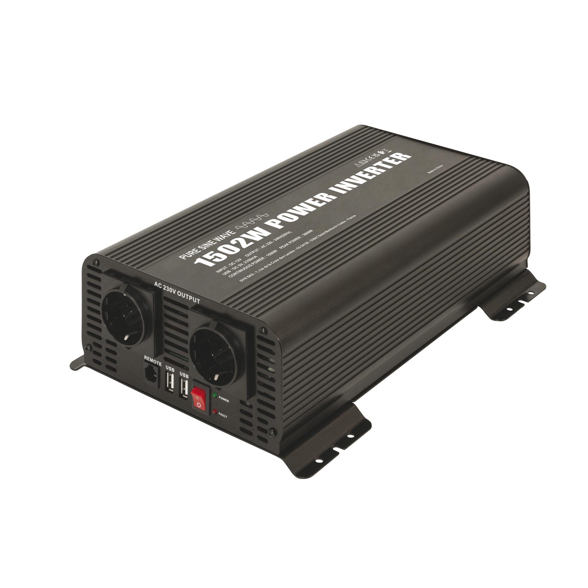 Omvormer-inverter PSW 1502W 12V met remote