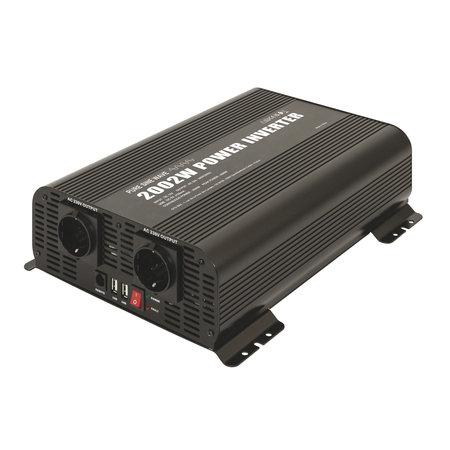 GYS PSW 2002W 12V   Omvormer / inverter   2 x 230V Schuko + 2 x 5V USB   met afstandsbediening