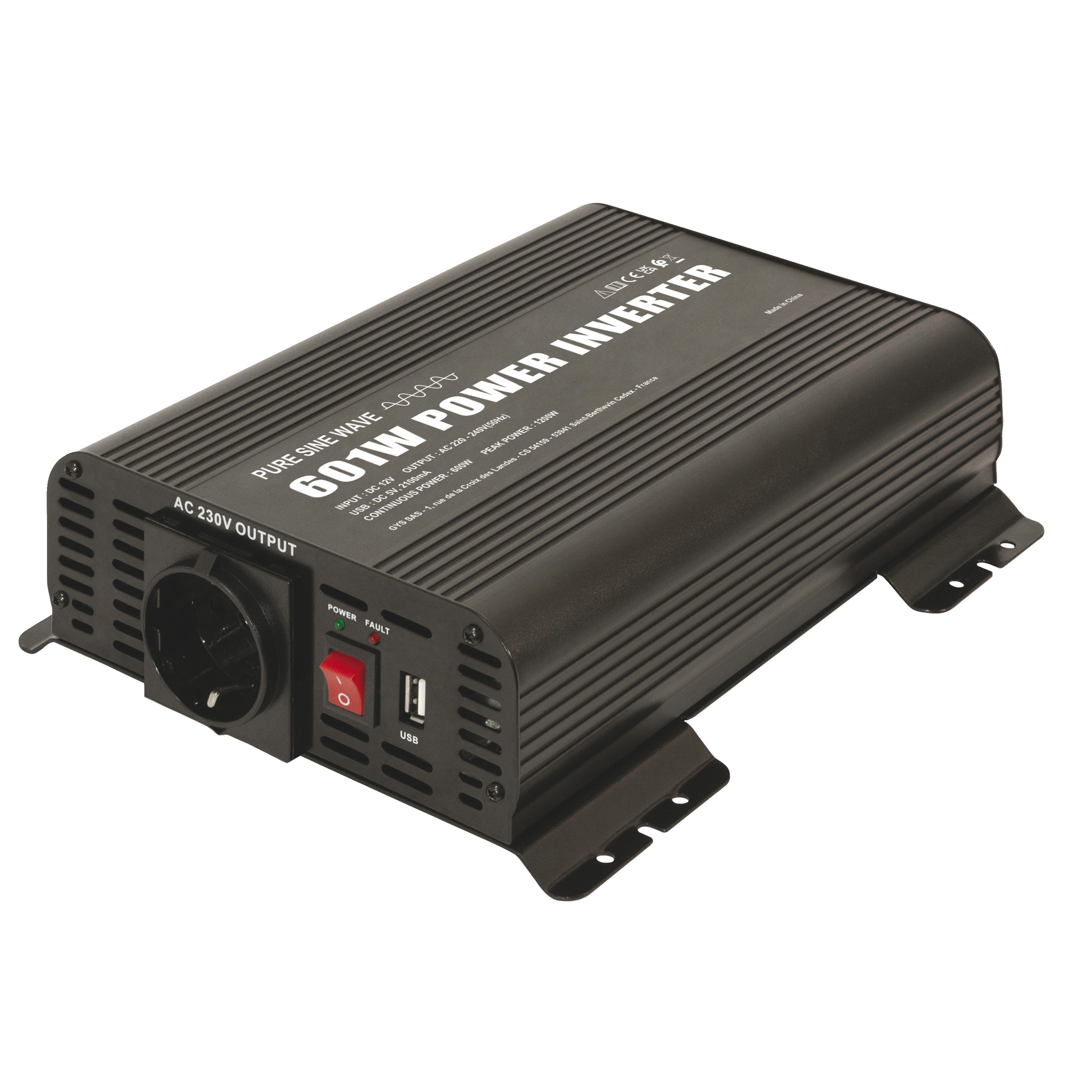 Omvormer-inverter PSW 601W 12V