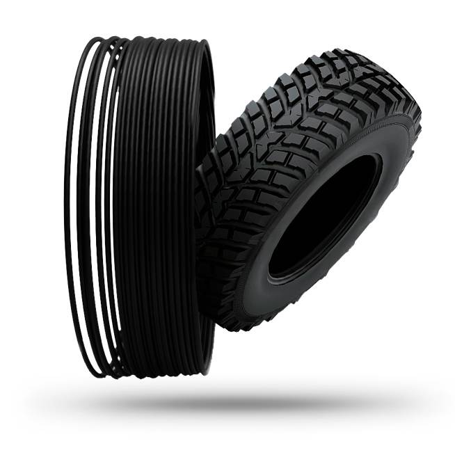 Treed 1.75 mm Pneumatique TPU filament from recycled tires, Black