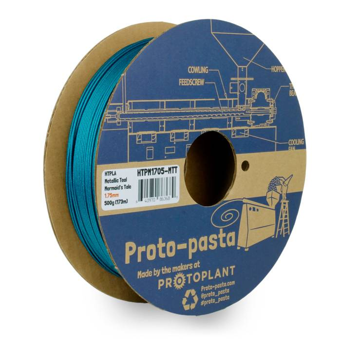 Proto-pasta 1,75 mm HTPLA filamento, Mermaid's Tale Metallic Teal